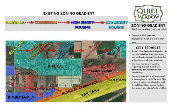 This map taken from the Quiet Meadow Village website shows the existing zoning areas in Laurel near the development of the proposed mobile home park. Had it passed council muster, the park would have been directly west of Yard Office Rd. and north of Eleanor Roosevelt Dr. The property is shown just north of the highway commercial area. Areas in red are already zoned residential manufactured. Areas in blue that are zoned residential multi-family are primarily home to single-family residential homes. The prop