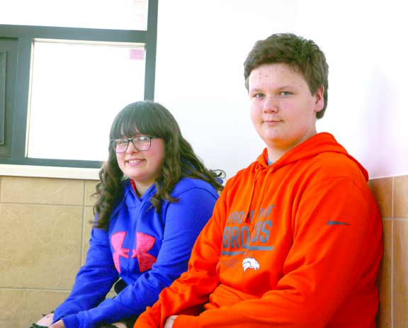 """Pictured from left are """"Do The Write Thing"""" writing contest winners Jaiden Popoff and Tristan Willyrad."""