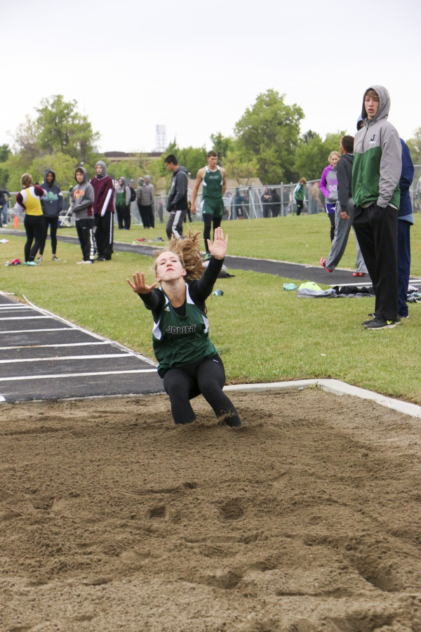 Photos by Evan Bruce.  Joliet's Shayla Webber placed 10th in the long jump at the Southern B Divisional track meet in Laurel last week.