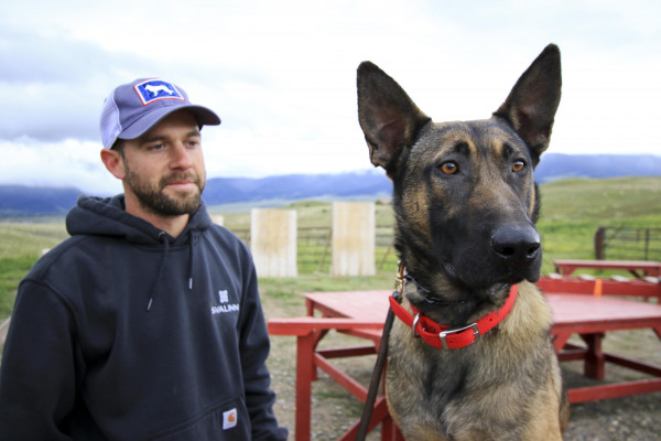 Svalinn protection dog trainer Chris McDonald trains with a dog named Dolly Parton on May 25.