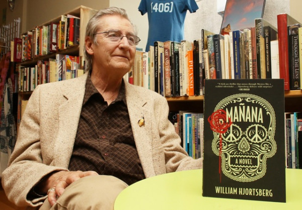 "Yellowstone Newspapers file photo by Hunter D'Antuono.  William ""Gatz"" Hjortsberg is pictured in Livingston's Elk River Books with his novel ""Mañana"" in May 2015. The Livingston novelist and screenwriter died from pancreatic cancer on Saturday at age 76."