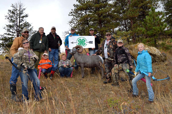 Courtesy photos. Members of the Carbon County 4H Archery Club and supporters pose with a 3D bighorn sheep target at the range. From the left are Tassin Tedeschi, Calvin Roorda, John Harwood, Gavin Thompson, Doug Reed, Mikeal Wilson, Nic Reed, Colton Whitney, Doug Whitney, Riley Tedeschi and Charlee Barns.