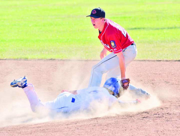 JD Ketterling slides headfirst during the Dodgers win over Glasgow last week. The Dodgers went 6–2 over the week to improve their overall record to 15–16 on the season. Photo courtesy Gloria Allwin
