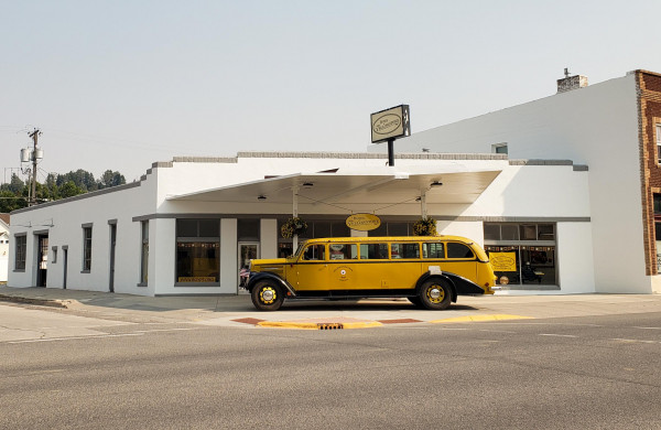 The home of the Buses of Yellowstone Park has been re-stuccoed and is now a fitting home for the buses.