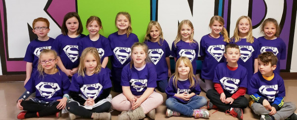 The following West School students were chosen as Super Kids a last week's assembly celebrating BE KIND week. First grade In the front row from the left are Addison Jochim, Addyson Barchenger, Baylee Yaeger, Savannah Plake, Kareen Smith and Eli Martin. In the back are Brady Laughery, Aubrey Bauwens, Haddie Wisecup, Peyton Fox, Mackenzie Patterson, Maizey Steffan, Leah Nelson, Riley DeRudder and Maralynn Norwick. Not pictured is Michael Brownlee.