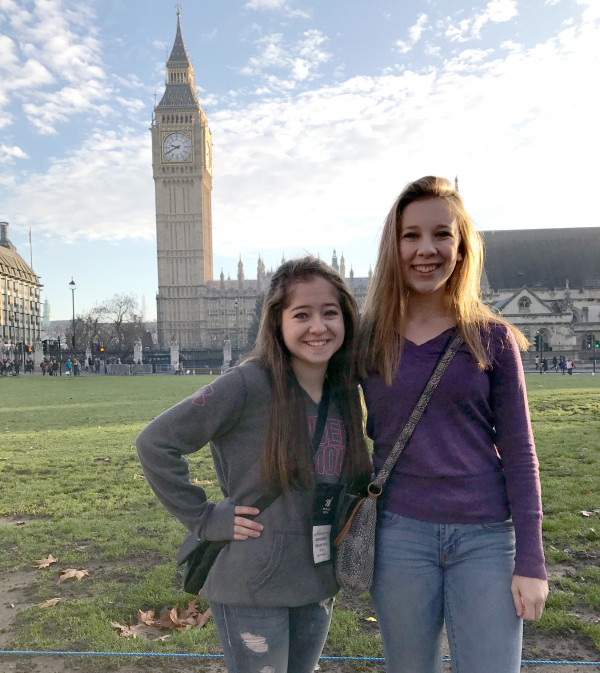 Avery Carlson and Abigail Peterson seeing the sights of London together on their travels abroad.