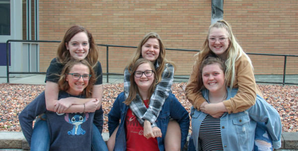 "Vocal Ensemble: ""Spice Squad"" top left to right: Hannah Kopp, Ava McKeever and Corinna Bickel. Bottom row left to right: Zoe Thomae, Hannah Bickel and Abigail Hillis."