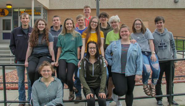 "Ensemble: ""Laurelaires"" top row left to right: Ryan Robertus, Samuel Little, Kyle Robertus, Sebastain Anderson and Kaden Metcalf. Middle row left to right: Kennedy Deming, Zoey Robertus, Abbey Scott, Harley Heeftle, Kasarah Pastian and Andrew Sutton. Bottom row left to right: Jessamyn Reichert, Makiah Gotschall and Abigail Hillis"