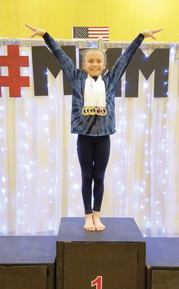Laurel Middle School gymnast Claire Molnar took first place at the Mismo Magical Meet at Sentinel High School in Missoula.