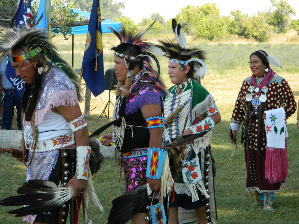 Outlook photo by Kathleen Gilluly. Crow Indian dancers were part of the all veterans color guard at the Chief Plenty Coups Day of Honor Saturday at Chief Plenty Coups State Park in Pryor. The yearly event gives visitors a glimpse into the life of the last Crow Chief. The event also included a fun run and a buffalo feast.
