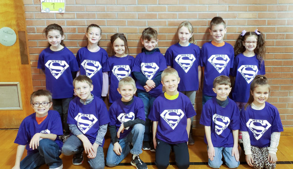 Photo courtesy Nancy Scott                        The following West School students have been chosen as December s Buzz Winners from the monthly assembly. These students were chosen as Super Kids because they consistently demonstrate the school's mission to be respectful, responsible and safe. In the back row from the left are Bailey Stutterheim, Annabelle Zelznikar, Ariana Harris, Jace Hoagland, Charlotte Welch, Jacob Meissner and Myah Aceves. In the front are Owen Young, Easton Mossman, Luke Gage, Brady