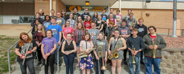 2019 Laurel High School District Band Festival Participants                      Front row from left, Danessa Stevens, Haylee Adams, Lizi Earles, Hannah Bell, Brynnan Miller, Sami Ellingson, Alex Obie and Kaden Straley. Second row from left, Hannah Maida, Scott Parker, Kyra Bruner, Rylee Johnson, Kendra Weatherford, Brenton Rolison, Colton Trostle and Easton Kyhl. Third row from left, Ashleigh M-Baird, Anna Temporal, Colton Folts, Malie Smith, Jenna Scott, Kendra King, Emily Virgil, Will Russell and Jayden
