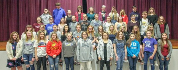 2019 Laurel High School District Choir Festival Participants                      Top row from left, Kennedy Deming, Kaden Metcalf, Elizabeta Earles, Sydney Olson, Jasmine Cooley, Harley Heeftle, Keeli Harris, Morgan Woody, Andrew Sutton and Aleah Goeke. Third row from left, Abbey Scott, Hannah Bickel, Hannah Bell, Kenzi Anderson, Will Russel, Sam Little, Katrina Carter, Samantha Ellingson, Saffron Berge, Sebastian Anderson and Ashley Goss. Second row from left, Abigail Hillis, Corinna Bickel, Savanna Keigh