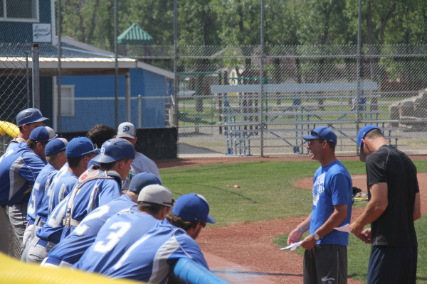 Outlook photo by Chris McConnell. Laurel Dodgers Manager Doug Studiner addresses the team during their final practice before the Eastern A District tournament last week. The Dodgers were eliminated in a semi-final game against the Billings Cardinals in Miles City on Sunday.