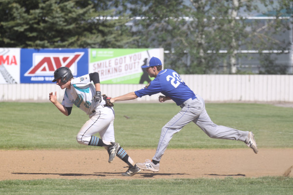 Photo Courtesy of Hailey Maurer.  Laurel first baseman Anthony Panella tags a Belgrade Bandit runner during their June 3, double header.