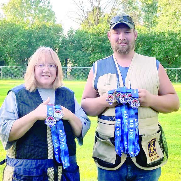 Jodie and Spencer Drange won 7 medals in shooting at the recent Big Sky state games. Spencer won gold in men's skeet, gold in men's trap, silver in team trap, silver in men's sporting clays , and silver in men's 5 stand. Jodie won silver in both woman's 5 stand and sporting clays. Jodie and Spencer medaled in all the events they entered.