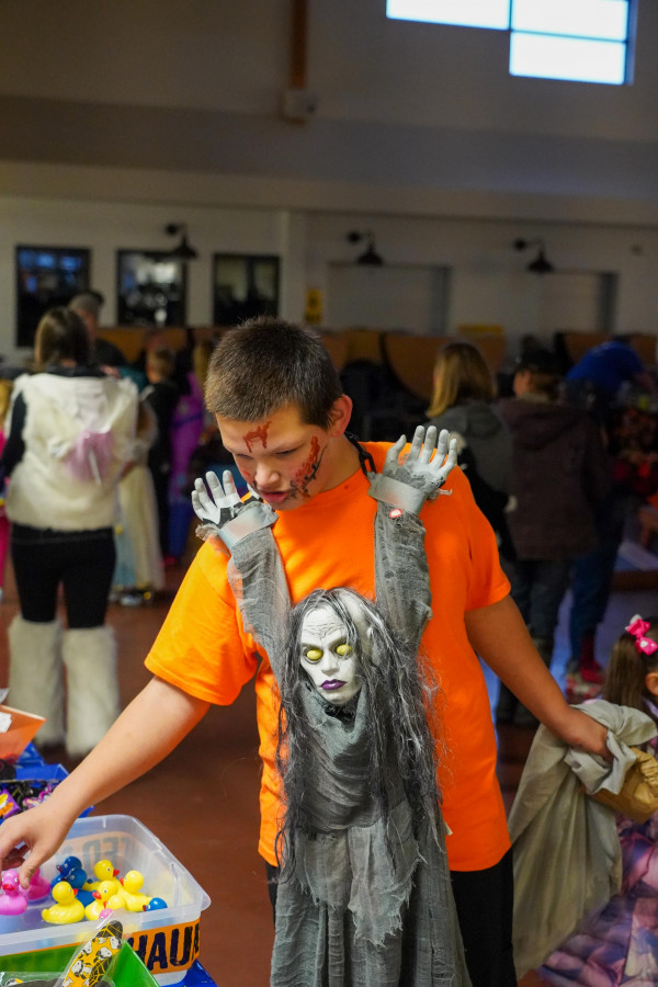 """This unique costume features Samara, the scary girl from the movie """"The Ring,"""" at the Laurel Chamber of Commerce Halloween party at the Middle School."""