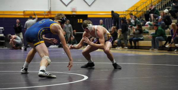 LHS junior Tyler Emineth during his match against a Miles City opponent in the 152 lb. class at the Laurel Quad on Tuesday.