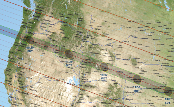 Graphic courtesy of NASA. The path of the total eclipse is shown through Wyoming. The closest totality location for Yellowstone or Stillwater County residents is Thermopolis or Casper, Wyo.