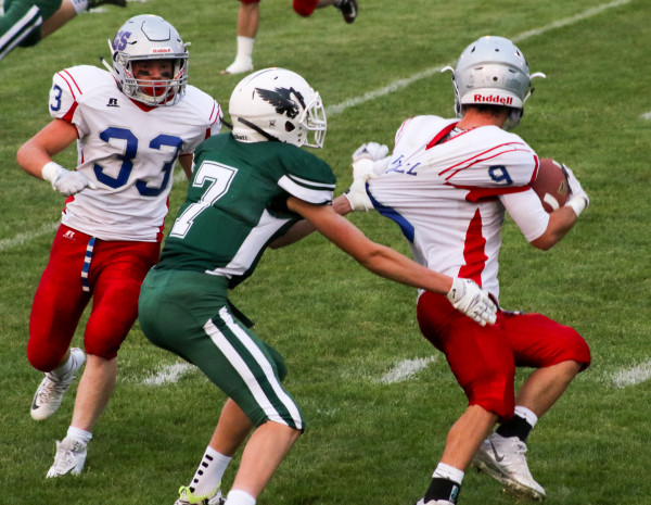 Photo courtesy Lynn Kramer. Rylan Olson applies the pressure to Denton/Geyser/Stanford during Fridays 50-18 victory in Joliet. The junior wide receiver and defensive back had a monster game, accounting for three touchdowns and six defensive tackles.