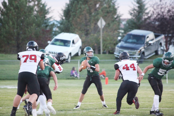 Photo courtesy Doreen Heintz.  Park City applies the pressure to the Tri-City Titans in Hobson on Saturday. The Panthers couldn't keep up with the scoring pace of the Titans, falling 60-23 in the Southern C conference opener. Park City hosts Harlowton tomorrow at 7 p.m.