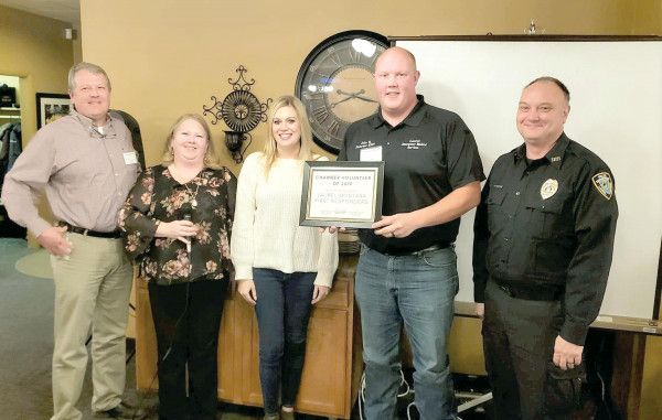 Courtesy photos                        Laurel's First Responders are the Laurel Chamber Volunteers of the Year for 2019. From left to right are Corey McIlvain with the Laurel Volunteer Fire Dept., Amanda Powell, 2019 Chamber President; Cami Nelson, Chamber Secretary; Jacob Haan with the Laurel Emergency Medical Service and Paul Bickel with the Laurel Police Reserves.