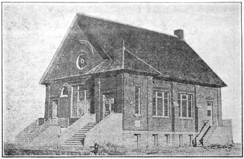 Considering its start in a rail car, the First Baptist Church building was impressive. The church itself was established in 1908.