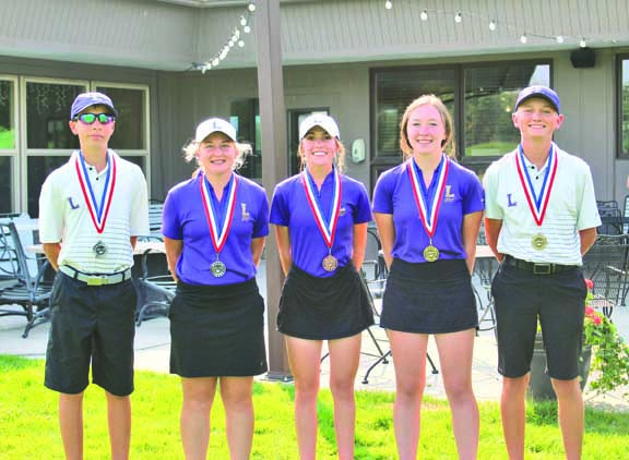 The LHS golf teams easily won the Miles City Invitational on August 27 and took the top three individual spots for the girls and the top two spots for the boys. From the left are Sam Norman (T-1st), Molly Cooney (2nd), Hannah Adams (3rd), Breana Jensen (1st) and Cameron Hackmann (T-1st). Photos courtesy Alivia Webinger