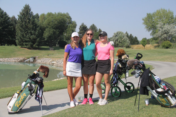 Outlook photo by Chris McConnell.  From left: Laurel's Morgan O'Neil, Park City's Kyla Clancy and Billing's Hayden Flohr take a break from their Montana State Women's Amateur practice round at Laurel Golf Club on Wednesday to pose for a group photograph. O'Neil and Flohr are sophomore golfers for Rocky Mountain College and Kyla Clancy is a former player and current RMC assistant coach.