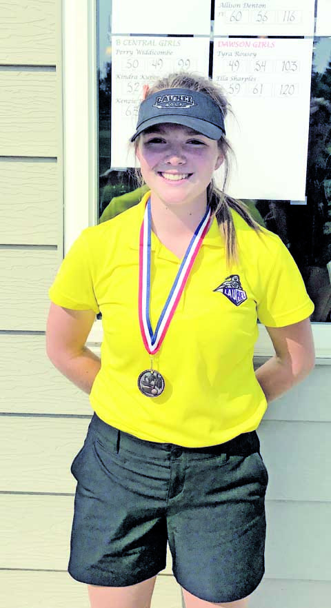 Photo courtesy Jim O'Neil. Elise Shovar is shown with her 5th place medal after posting a 95 at the Sidney Invitational golf tournament on Saturday. Coach O'Neil said he is impressed with Shovar's positivity and improvement this year.