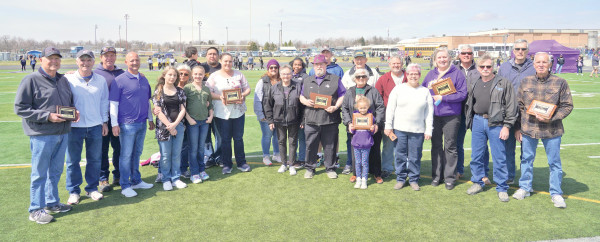 Pictured are the 2021 Laurel High School Hall of Fame inductees along with their families and other supporters who attended the ceremony on Saturday. From the left are Wayne Hackney, Monty Hoppel, Kelly Braswell, Brad Dantic, Autumn Strawbridge, Debra Wood, Kacey Strawbridge, Lennox Gardner, Tyson Gardner, Brittany Gardner, Vonda Temporal, Georgia Helterbran, Anna Temporal, Rich Helterbran, Ricky Temporal, Carl Fox, Gloria Fox, Lysa Fox, Steve Fox, Laurie Fox, Connie (Kellison) Cole, Tim Russell, Mark Elsen