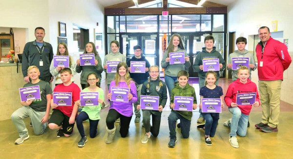 The LMS has announced their Star Students for the month of January. In the back are LMS Principal Justin Klebe, Addison Welch, Evelynn Jeide, Bridger Clavadetcscher, Jacob Wright, Kloee Cutting, Reece Dolechek, Owen Younger and Middle School Assistant Principal Lucas Larson. In the front are Steele Hansen, Jeffrey Johnson, Jamisen Harris, Tess Meyer, Darby Boehler, Blake Hutton, Olyvia Robison and Krew Hunter. Not pictured is Makayla Amestoy. Courtesy photo