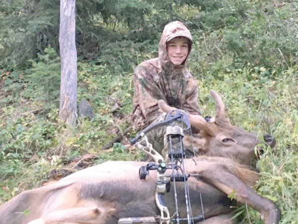 Jase Tillman, age 12 of Laurel, shot his first elk on September 24, with his bow at 40 yards. His dad Jim Tillman was with him to share in this great experience.