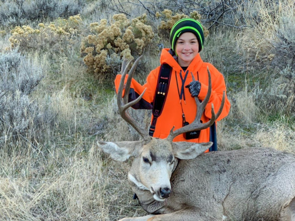 Josiah Bush, 12, with the deer that he shot in October 2018 outside Park City. This is his first deer.