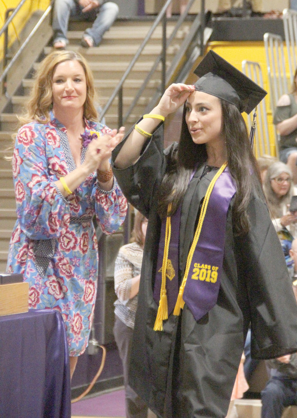 Laurel High graduate Casey Burrows is all smiles as she received her honor award recognizing her high GPA during the LHS commencement ceremony.