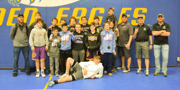 Most of the Laurel Middle School wrestling team stands together after their second-place victory in Lewistown for the Montana Middle School State Championships on Saturday, March 7. Photo courtesy of Connie Love