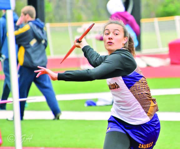 Bailey Graves won the javelin throw at the Eastern A Divisional meet with a toss of 117–6. Keeli Harris was 2nd with 108–00, Laney Leeds 3rd with 105–03 and Daeja Fike 6th with 102–00.