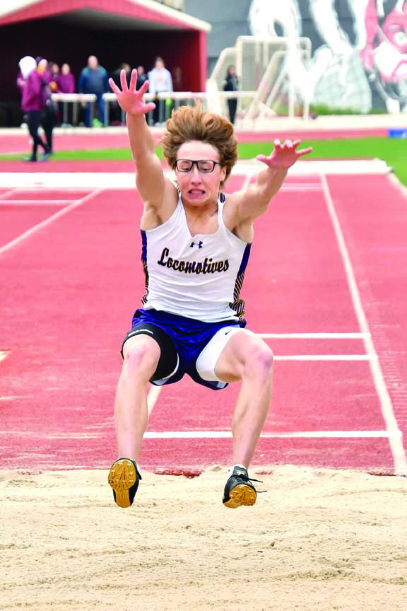 Jakob Webinger won the long jump last weekend with a personal best leap of 21– 05.00 at the Eastern A Divisional meet in Glendive. Webinger also took first in the 100m and 200m with times of 11.01 and 22.33 (personal record). Photo courtesy Gloria Allwin