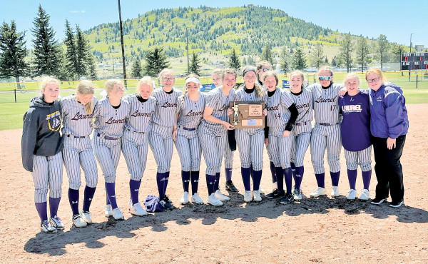 The Lady Loco softball team after taking 3rd place at the Class A State tournament in Butte last week. They won two and lost two to finish the season at 19–2. Courtesy photo