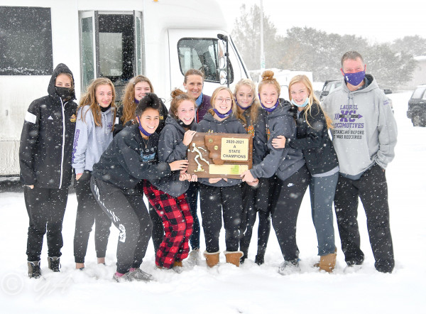 The Lady Loco cross country team after winning Laurel's first State title in 27 years and only the second in school history. Photos courtesy Gloria Allwin