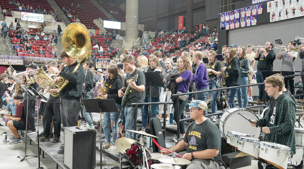 The Laurel High Pep Band plays at First Interstate Arena between the Loco boy's and girl's basketball games last Friday. Outlook photo by Chris McConnell