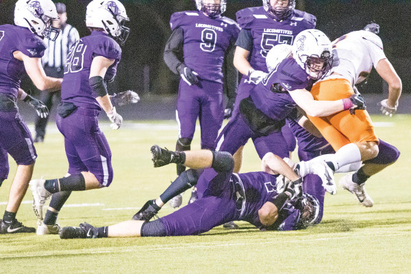 A gang of Loco defenders bring down a Frenchtown running back in the quarterfinal game two weeks ago. Laurel traveled to Hamilton on Saturday and upset the undefeated Broncs 28–21 to advance the the Class A State Championship game against Billings Central this Saturday. Photos courtesy Kathleen Linger