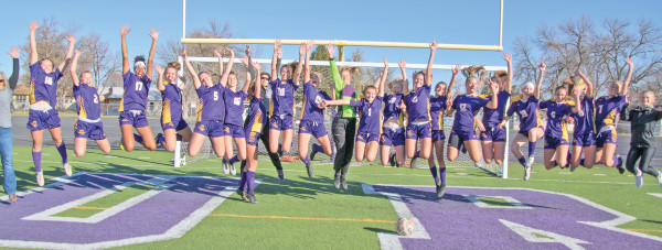 The Lady Loco soccer team jumps for joy after they won their second consecutive Class A State Championship on Saturday. Photos courtesy Kathleen Linger