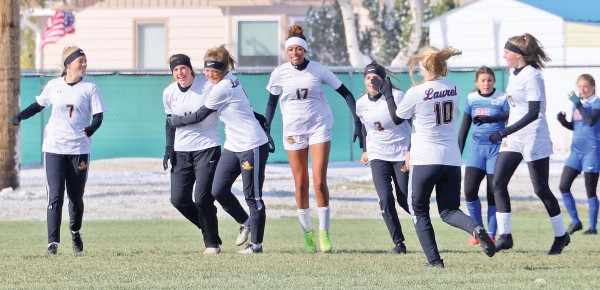 laurel celebrates a goal during their 5–1 victory over Columbia Falls on oct. 24. Photo courtesy Brigid Wagner
