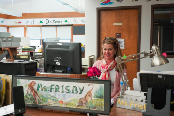 Laurel Schools K2 Librarian Ms. Frisby at West School this week after the library received grants through the Montana Masonic Foundation to create a commemorative plaque and update their Native American literature. Outlook photo by Chris McConnell
