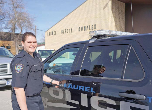 Outlook photo by Chris McConnell Billings West graduate Haley Swan is Laurel's newest police officer. She travels to the Law Enforcement Academy in Helena this weekend and will be on duty in Laurel later this summer.