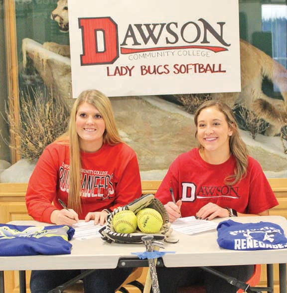Makayla Harper, of Park City, and Sawyer Wiggs, of Columbus, signed letters of intent to play softball for Dawson Community College in Glendive next year. Courtesy photo