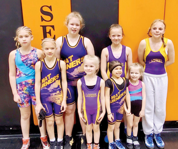 On Saturday, March 7th Montana AAU Wrestling held the very first Girls Wrestling State Tournament at Senior High in Billings. Laurel had eight girls participate. In the back row from the left are Carolyn Sparks, Jadyn Swecker, Bridget Thomas and Chloe Bowen. In the front are Abigail Sparks, Caley Anne Swecker, Hannah Sparks and Kepler Thomas.  Courtesy photo