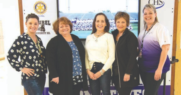 Shown from the left are Brandi Fox (LHS Counselor), Patsy Guenthner (PEO President), Tracy Mann (PEO Treasurer), Sharon Nose (Scholarship committee) and Shawnda Zahara (LHS Principal). The P.E.O. is offering a $500 scholarship to a female student.