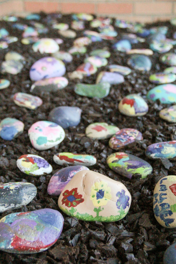 """Kindergartners created their own art from rocks as part of the """"Only One You"""" project."""